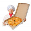 Female cook with cooked pizza — Stock Photo