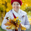 Happy mature woman  in autumn - Stock Photo