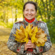 Senior woman with maple leaves - Stock Photo