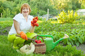 Happy mature woman with vegetables — Stock Photo