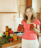 Woman with marinated vegetables — Stock Photo