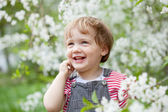 Happy toddler in spring — Stock Photo
