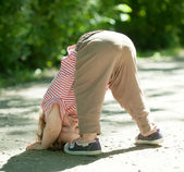 Two-year chid upside down — Stock Photo