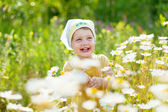 Two-year child at camomile meadow — Stock Photo