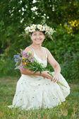 šťastné zralá žena v hlavu — Stock fotografie