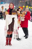 Women with pancake during Maslenitsa festival — Stock Photo
