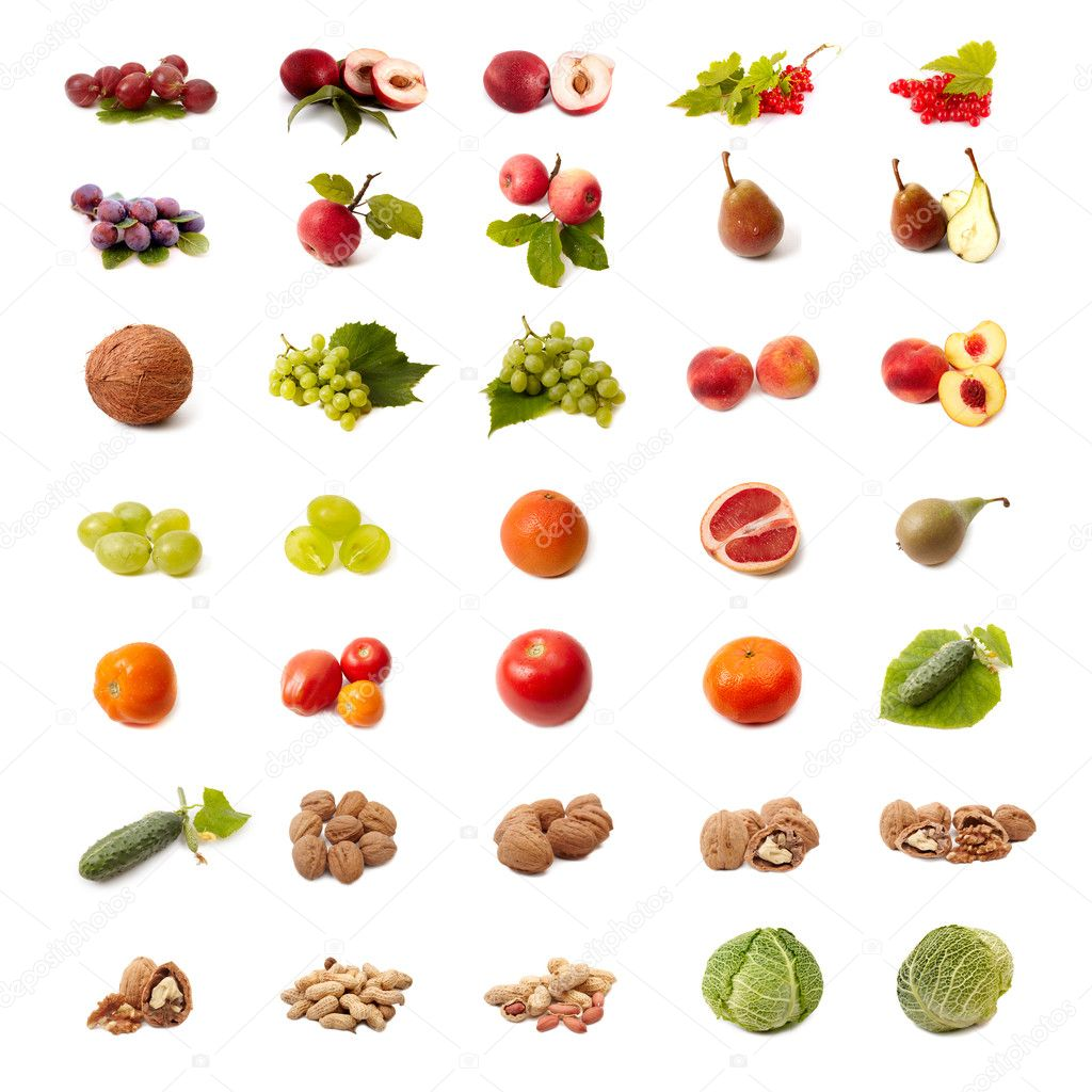 Isolated fruit and vegetable set on white background  Stock Photo #11785902