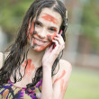 Dirty girl calls on a cellular telephone — Stock Photo
