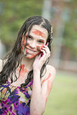 Dirty girl calls on a cellular telephone — Stockfoto