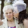 Portrait of the beautiful bride with the grandmother — Stock Photo