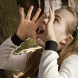 Stock Photo: Girl screams in woods