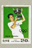 DPR KOREA CIRCA 1987: stamp printed by DPR KOREA, shows IVAN LENDL, tennis winner. CIRCA 1987 — Stock Photo