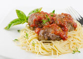 Spaghetti and meat balls — Stock Photo