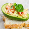 Avocado salad and bread - Stock Photo