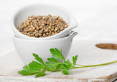 Coriander seeds and leaves — Stock Photo