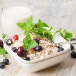 Healthy breakfast - muesli, milk and berry — Stock Photo