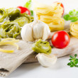 Italian healthy  food - pasta and vegetables — Stock Photo