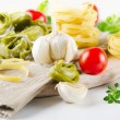 Italian healthy food - pasta and vegetables — Stock Photo #11577837
