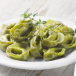 Italian healthy  food - Green spinach tortellini — Stock Photo