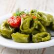 Italian healthy food - Green spinach tortellini — Stock Photo