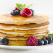 Pancakes with raspberries — Stock Photo