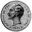 Stock Photo: 25 pesetas, Spain, 1881