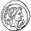 Stock Photo: Caesar Head with sign of dictator, denarius of Julius Caes
