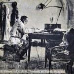 Постер, плакат: Count Leo Tolstoy in Yasnaya Poliana with paintings by Ilya Repin