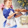 Girl with a pie — Stock Photo