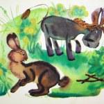 Постер, плакат: Donkey and rabbit tales of Winnie the Pooh