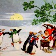 Постер, плакат: Dwarf feeding sausages penguins