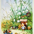 Постер, плакат: Dwarf near his home talking with mice who go on a wagon pulled b