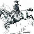 Graduate School of Riding - Caprioli, dotted line denotes the po — Stock Photo