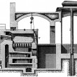 Hamburg crematorium furnace, longitudinal section — Stock Photo