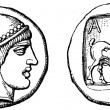 Head of Hermes, the Goat, Tetradrahmon of Enos in Thrace, Pelopo - Stock Photo