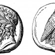 Stock Photo: Head of Zeus, eagle, Didrahmon Elidsky, about 400 BC