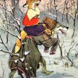 Illustration to the Russian fairy tale The Wolf and the fox - Stock Photo