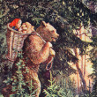 """USSR - CIRCA 1954: Reproduction of antique postcard shows Illustration to the Russian folk tale """" Masha and bears"""", circa 1954 — Stock Photo"""