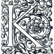 Initial K, late 16 th century — Stock Photo