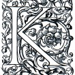 Stock Photo: Initial K, late 16 th century