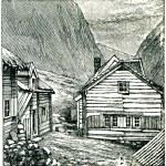 norweska wioska w górach — Zdjęcie stockowe #11867989