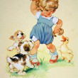 Puppies and goose trying to rob girls buns — Stock Photo #11869077