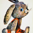 USSR - CIRCA 1978: Reproduction of antique postcard shows rabbit, circa 1978 — Stock Photo