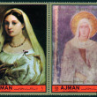 "AJMAN - CIRCA 1972: Stamps printed in Ajman Emirate shows painting by Raphael ""La Velata"" and by Simone Martin ""St Chiata"", circa 1972 — Stock Photo"