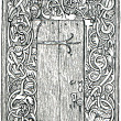 Scandinavian carved door - Stok fotoğraf