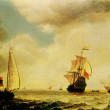 Simon De Vlieger - Stormy Seascape with Sailboats — Stock Photo