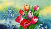 Bouquet of spring flowers, the artist V Dergileva — Stok fotoğraf