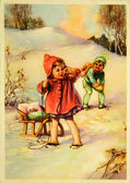 Bola de nieve niño y niña — Foto de Stock