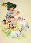 Boy playing a pipe two lambs — Stock Photo