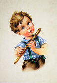 Boy playing pipe — Stock Photo